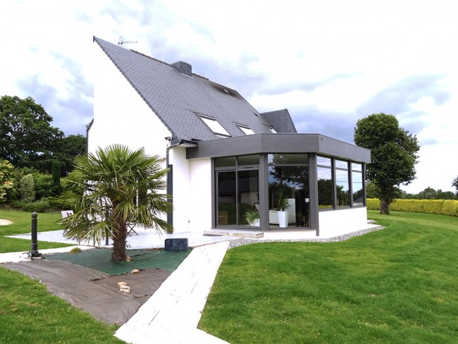 Extension maison bois toit plat de maison quimper eco for Extension maison ossature bois toit plat